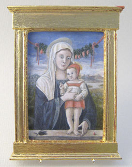 "Madonna col Bambino after  Bellini c.1460 (2 3/8"" w x 3"" h) by Lee-Ann Chellis Wessel"