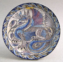 "Dragon Plate after William de Morgan c.1890 (1 3/4"" d) by Lee-Ann Chellis Wessel"
