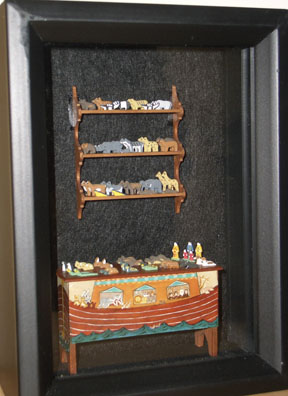 Noah's Ark themed shadow box, blanket chest painted by Mary Grady O'Brien and shelf by Pete and Pam Boorum.