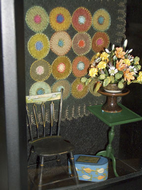 Mark Murphy table and chair, chair and box painted by Mary Grady O'Brien, flowers by Pat Stebbins and rug by Patricia Richards