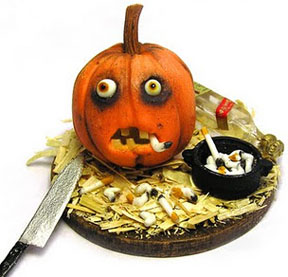 A neurotic pumpkin with a habit by Kiva Atkinson.
