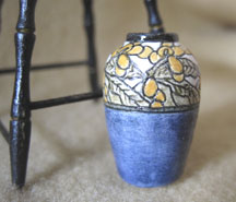 Japanese plum decorated vase in the Newcomb Pottery style by Lee-Ann Chellis Wessel