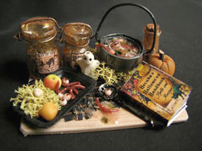 Witch's brew preparation table by Betsy Niederer.