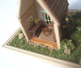 Interior of Elizabeth Yankowski's 1/144 scale cottage.