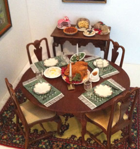 A holiday feast in the Dining Room, Thorne rooms, Knoxville Museum of Art.