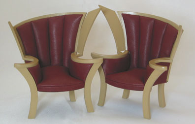Wood and upholstered chairs by Kari Bloom of Miniton Miniatures in 1/12 scale.