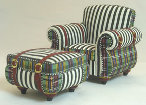 A striking combination of plaids and stripes on a modern chair by Kari Bloom of Miniton Miniatures in 1/12 scale.
