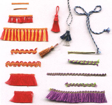 Miniature passamenterie trims, most made on a full size inkle loom, Guild School 2009.
