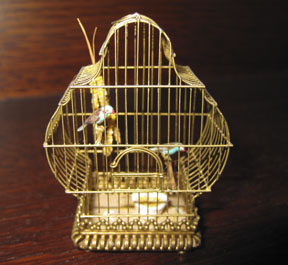 """Fanciful brass birdcage by Ursula Dyrbye-Skovsted in 1/12 scale, 2 1/4"""" tall."""