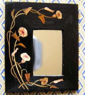 """Art Deco style mirror with inlaid Morning Glory design but Ursula Dyrbye-Skovsted, approximately 1 3/4"""" wide."""