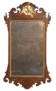 Chippendale style mirror with carved and gilded phoenix, full-size.