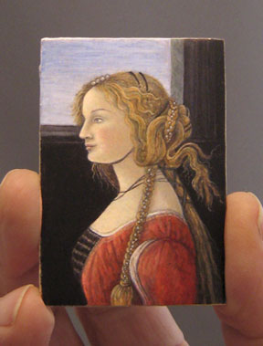 The 1/12 scale Botticelli painting by Lee-Ann Chellis Wessel that will be the subject of the Artist-in-Residence program.
