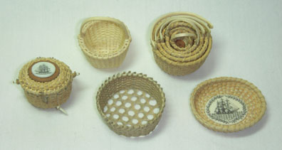 1/12 scale baskets in the Nantucket tradition by new Fellow member Nancy Simpson.