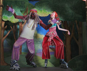 Rollerbladers mid-dance in New York's Central Park. A work in 1/12 scale by IGMA Artisan member Natasha Beshenkovsky commissioned by collector Holly June Browne.