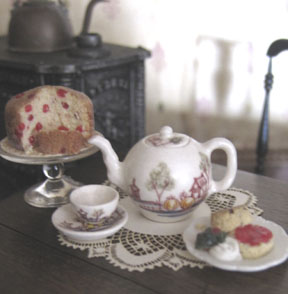 Tea in the dollhouse.