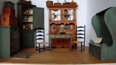 Country finished furniture in 1/12 scale by Barbara Vajnar of Bubba's Mini Country Cupboards.