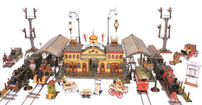Elaborate miniature train station and transportation toys from the Jerni Collection on display at the New-York Historical Society. Photo by the NY Historical Society.