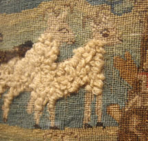 Interesting textured sheep on a sampler at Christie's New York, 2013.