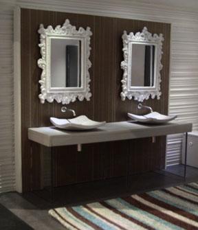 A stylishly elegant double vanity in 1/12 scale by Paris Renfroe.