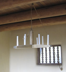 Rustic chandelier in the adobe roombox prototype for Guild School class 2013.