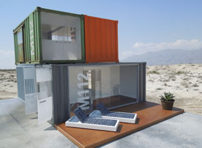 Two versions of the shipping container gallery/home options available through Paris Renfroe Designs.