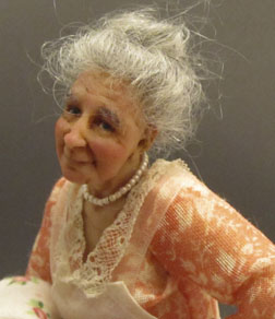 A Grandma everyone can love, 1/12 scale doll by Jeanne Rullie, dealer at the 2013 Guild Show.