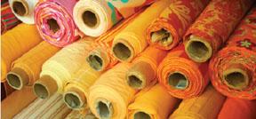 Rolls of fabric at Fabrics-Fabrics, New York City.