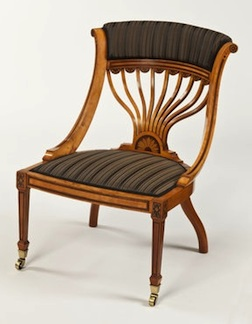 A late 19th century satinwood armchair in 1/12 scale by one of the talented artists represented by Lilliput Land.