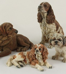 Dogs sculpted in 1/12 scale by Sarah Hendry and available from Karon Cunningham Miniatures
