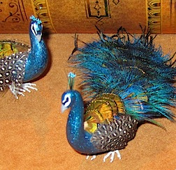 Dramatic feathered peacocks in 1/12 scale by Mike Barbour.
