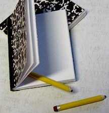 Miniature pencils and composition notebooks.