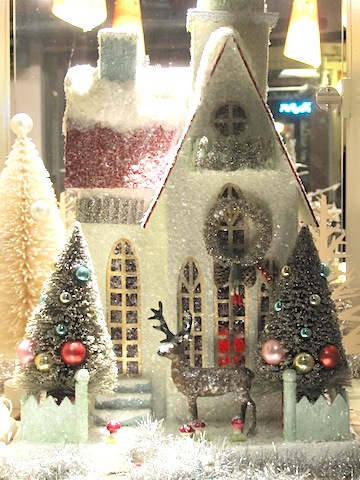 Holiday display in a store window.