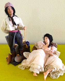 A pirate and lusty wench, 1/12 scale figures by IGMA Fellow member Shirley Whitworth Bertram.