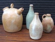 These pieces are a bit of a departure for Jane, the salt glaze and wood firing making their finish a bit un predictable.