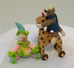 Crocheted toys by Artisan member April Haswell at the Gallery table in Chicago.