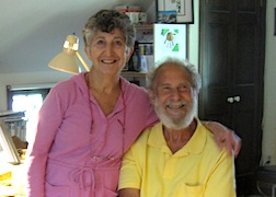 LInda LaRoche and James Hastrich in Linda's studio in their house in Kennebunk, Maine.