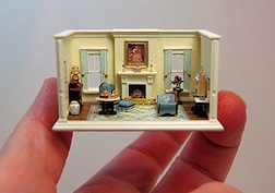 A dollshouse for a dollshouse, 1/144 scale drawing room by Nell Corking, IGMA Fellow member.