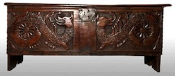 A carved Welsh chest from the Elizabethan period, carved by Ann High, IGMA Fellow member.