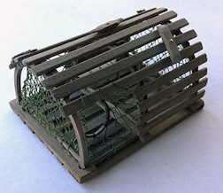 Making a 1/12 scale lobster trap will be the focus of a 12 hour class taught by Bonni Backe at Guild School 2015.