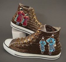 Beaded high-top sneakers by bead artist Teri Greeves.