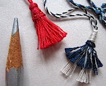 1/12 scale tassels, one incorporating a wooden head form and one with a 'skirt'.