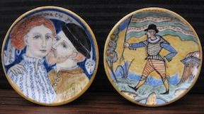 Inspired by her Italian Majolica studies, 1/12 scale plates by Fellow member Lee-Ann Chellis Wessel.