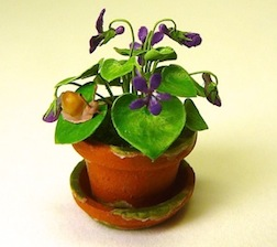 A potted violet in 1/12 scale by IGMA Artisan member Peter Gabel, will be for sale at the Gallery of the Guild.