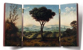An exquisite triptych in 1/12 scale by Christina Goodman who will be a dealer at the Guild Show in August.