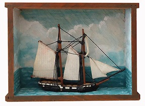 A ship model shadow box from the Cape Cod Living Room is the project inspiration for the class taught by Steve Jedd.