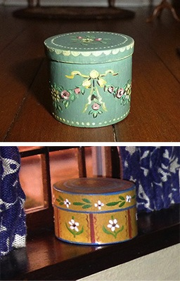 Students in Mary Grady O'Brien's class will be painting decorative boxes like these examples from the American Thorne Rooms.