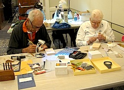Jan Gautney and Tom Fisher hard at work in Iulia Chin Lee's class.