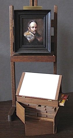 Easel and artist's box by Carol Hardy, IGMA Fellow member; painting by Johannes Landman, IGMA Artisan member.