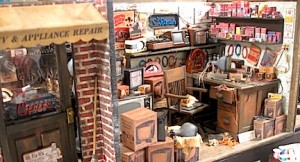 A tv repair shop from Wright Guide Miniatures.