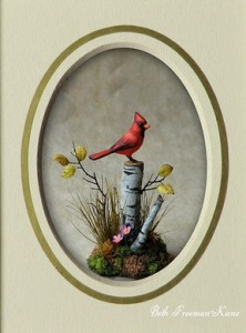 BethFreeman-Kane will be teaching this small cardinal vignette in a one day class at the 2017 Guild Show.